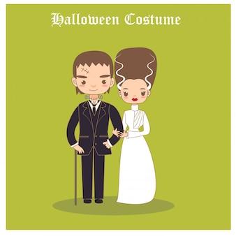 Vektor der halloween-kostüme des paares