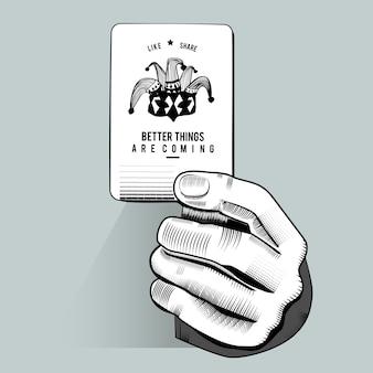 Vektor der hand zufällige spielkarte halten