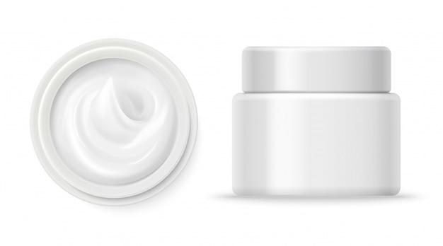 Vektor der kosmetischen cremebehälter. cremebehälter oben und vorderansicht lokalisiert auf weißem hintergrund