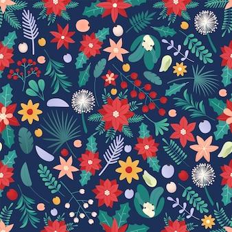 Vektor der nahtlosen bunten natürlichen weihnachtshintergrund-weihnachtszeitillustrations-grußkartenschablone mit blumen und blütenblättern im blauen hintergrund