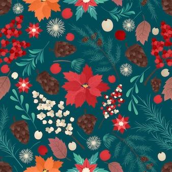 Vektor der nahtlosen bunten natürlichen weihnachtshintergrund-weihnachtszeitillustrationsgrußkartenschablone mit blumen und blütenblättern im dunklen hintergrund