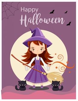 Vektor der netten hexe für halloween-grußkarte