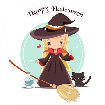 Vektor der netten hexe mit halloween-konzept.