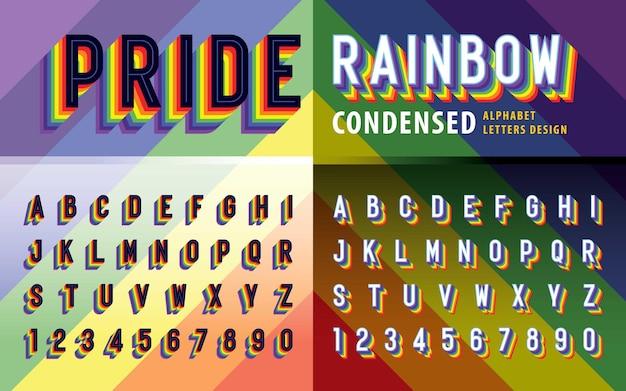 Vektor der regenbogenflaggenfarben alphabet buchstaben und zahlen stolz regenbogen kondensierte schattenbuchstaben