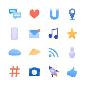 Vektor der social media-ikone gesetzter