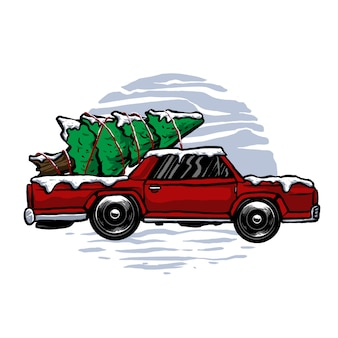 Vektor des abenteuers des klassikers oder des weinleseautos im winter