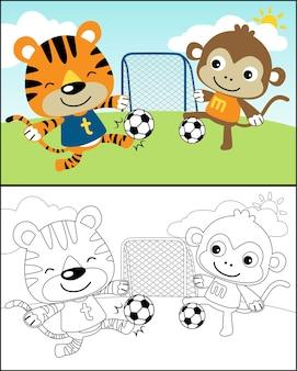 Vektor des fußballspielens mit lustiger tierkarikatur