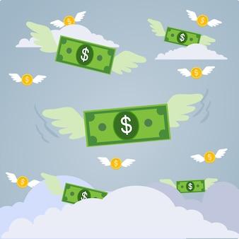 Vektor des geldes fliegend mit flügeln im blauen himmel.