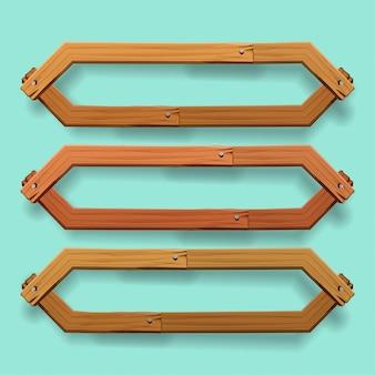 Vektor des hölzernen fahnendesigns