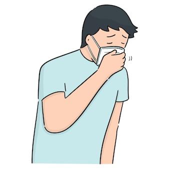 Vektor des mannes, der medizinische maske verwendet