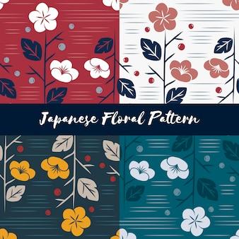 Vektor des nahtlosen blumenmusters der japanischen art