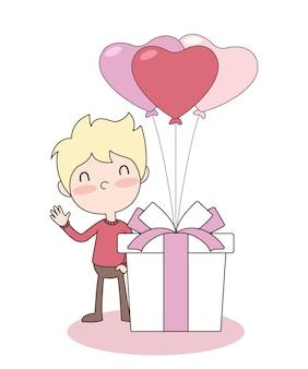 Vektor des niedlichen jungen mit geschenkbox und herzballons. valentinstag konzept. eps 10 vektor