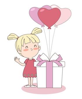 Vektor des niedlichen mädchens mit geschenkbox und herzballons. valentinstag konzept. eps 10 vektor