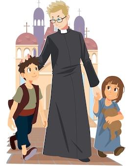 Vektor des priesters gehend mit kindern auf fußboden außerhalb des kirchenhintergrundes.