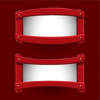 Vektor des roten hölzernen fahnendesigns