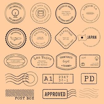 Vektor des verschiedenen briefmarkendesigns