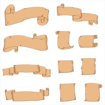 Vektor des weinlesepapier- und -bandhandabgehobenen betrages