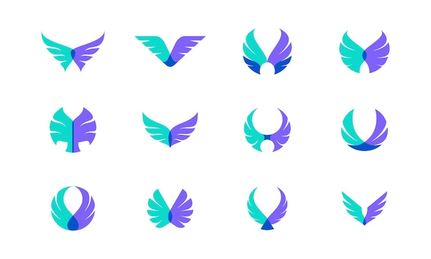 Vektor-design-bündel von flügeln. geeignet als logo, das für freiheit, mut und glück steht.