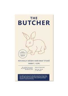 Vektor-design-vorlage-etikett für die verpackung mit illustration silhouette - bauernhof kaninchen. abstraktes symbol für fleischprodukte.