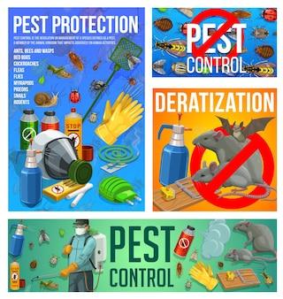 Vektor-desinsektions- und deratisierungsdienst zur schädlingsbekämpfung. insektenvernichtungsbekämpfung zu hause mit presssprüher. kammerjäger sprüht giftiges insektizid gegen insekten, ungeziefer und nagetiere banner