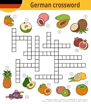Vektor-deutsches kreuzworträtsel, bildungsspiel für kinder über tropische früchte