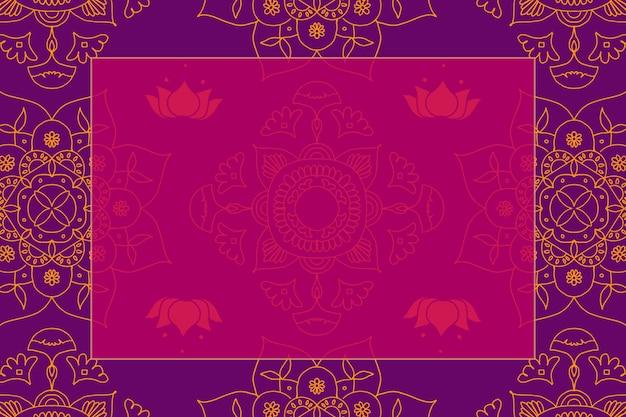 Vektor diwali festival rangoli indischer rahmen