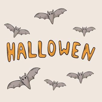 Vektor-doodle-illustration. große banneraufschrift halloween. fledermäuse dekoration.