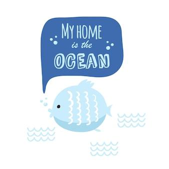 Vektor-doodle-meer-illustration. skandinavischer stil. fertige karten mit meerestieren, wal, killerwal, krabben-möwenfisch-meer-symbolen