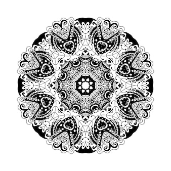 Vektor-doodle runden ornament isoliert auf weißem hintergrund