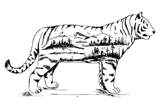 Vektor-doppelbelichtung, handgezeichneter tiger für ihr design, wildlife-konzept