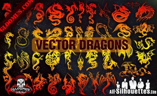 Vektor drachen silhouetten