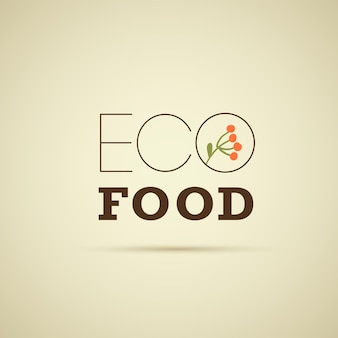 Vektor-eco-food-logo-design-vorlage mit blumenbrunch auf hellem hintergrund isoliert. gut für lebensmittelmarkt-emblem, bio-produktetikett, abzeichen für gesunde lebensmittel, verpackung, café, restaurantabzeichen usw.