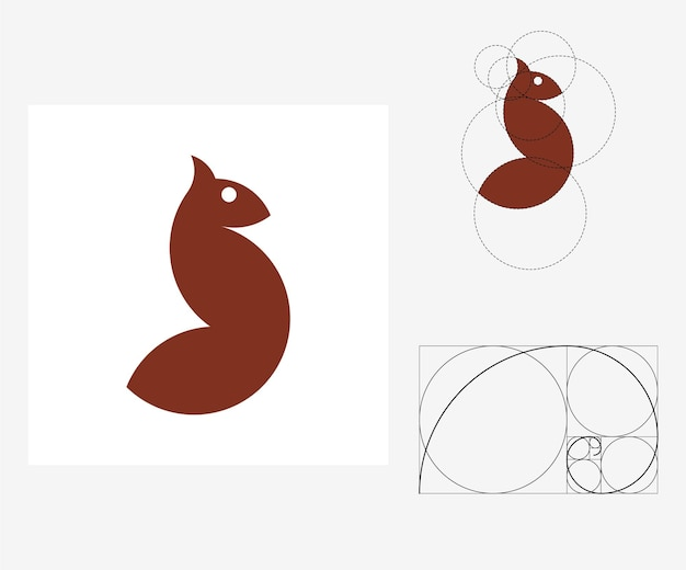 Vektor-eichhörnchen im stil des goldenen schnitts. bearbeitbare abbildung