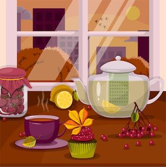 Vektor eine teekanne, eine tasse und ein cupcake auf der fensterbank mit einem erntedankfest in der herbstlandschaft?
