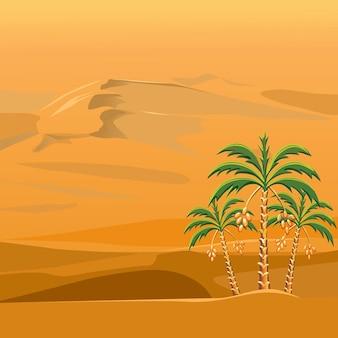 Vektor einer wüstenlandschaft mit palmen