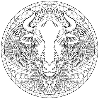 Vektor eines büffelkopfdesigns. wilde tiere