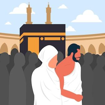 Vektor eines muslimischen mannes und einer muslimischen frau, die tawaf um die kaaba machen premium-vektor