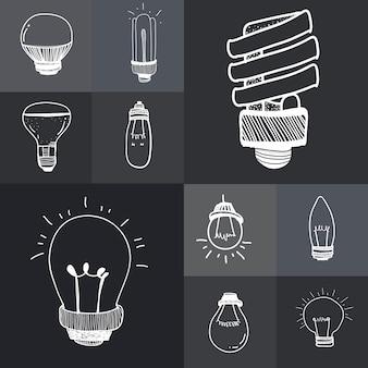Vektor eines satzes glühlampen