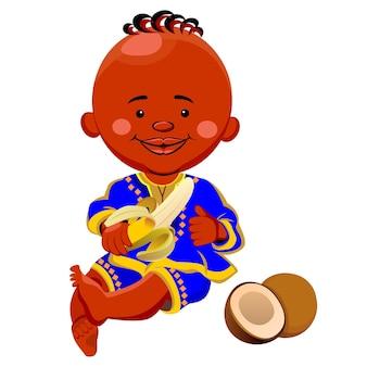 Vektor eines schwarzen jungen in nationaltracht und sitzt mit einer bananenkokosnuss in der nähe