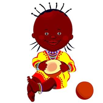 Vektor eines schwarzen mädchens in nationaltracht und sitzt mit einer kokosnuss
