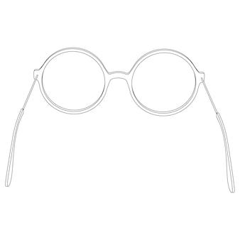 Vektor einfache runde brille, brille