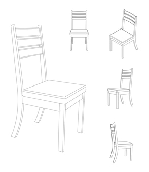 Vektor einfacher stuhl mit verschiedenen ansichten umrissillustration