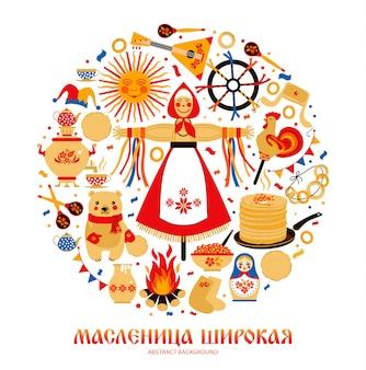 Vektor eingestellt auf das thema des russischen feiertag karnevals.