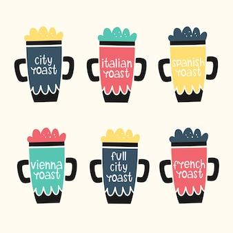 Vektor eingestellt mit kaffeetassen. kaffee rösten. hand gezeichnete stile