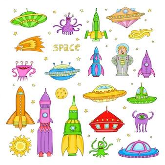 Vektor eingestellt mit karikaturraum wendet ufo-raketen, astronaut ein
