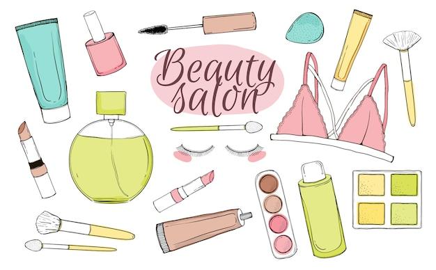 Vektor eingestellt mit kosmetik. illustration des handabgehobenen betrages. isolierte objekte auf weißem hintergrund.