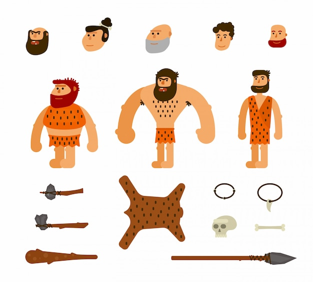 Vektor eingestellt mit prähistorischen leuten
