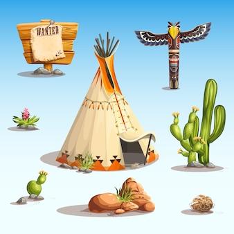 Vektor einige verschiedene elemente zum thema des wilden westens