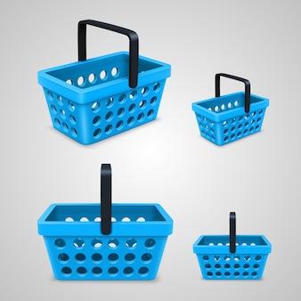 Vektor-einkaufstasche mit runden löchern blau. vektor-illustration