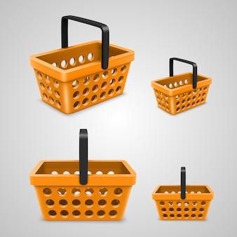 Vektor-einkaufstasche mit runden löchern orange. vektor-illustration